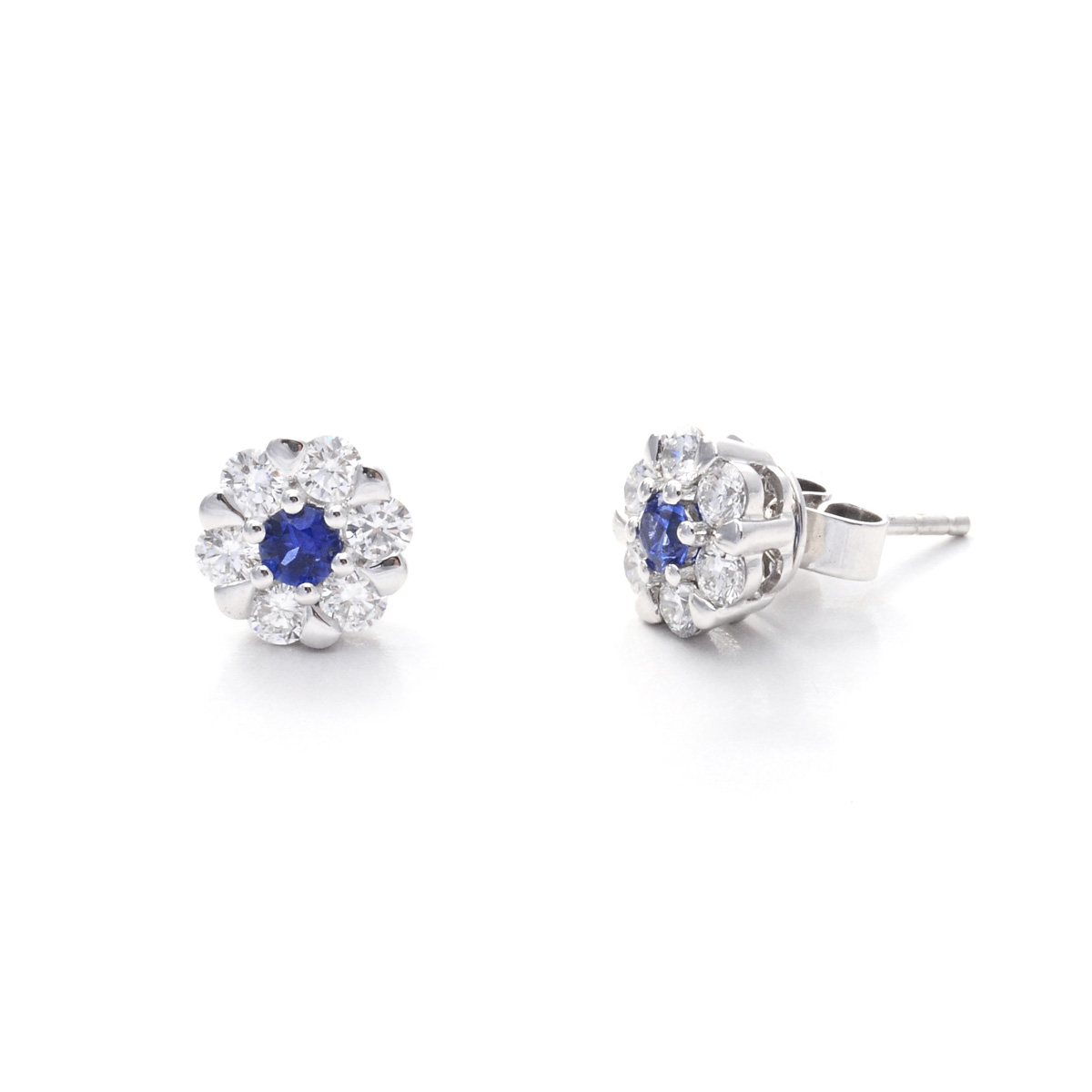 2ac8f2560282 Medium Sapphire And Diamond Floral Cluster Stud Earrings Set In 18Ct ...