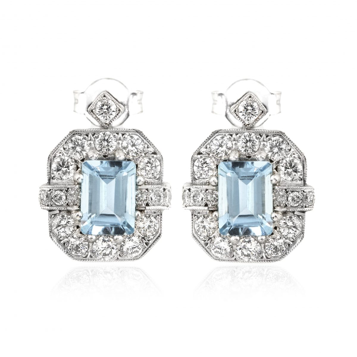 f8673f33085e2 Vintage Art Deco Style 18ct White Gold Aquamarine and DIamond Earrings A  2.30ct D 0.75ct G SI