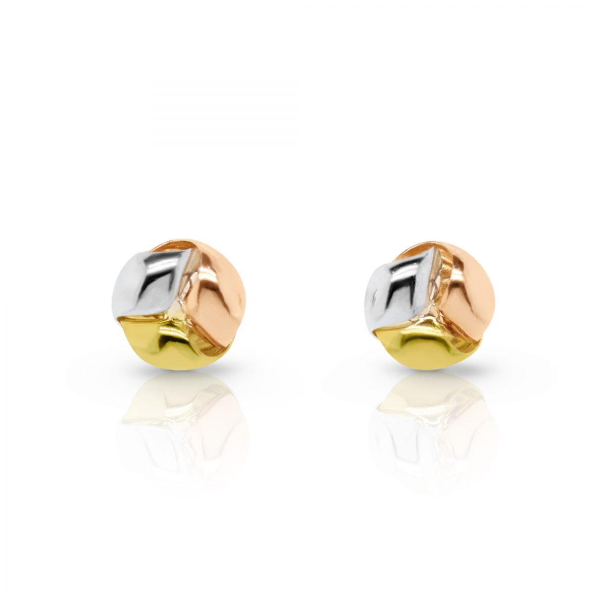 66bebeb37 18ct 3 Tone Gold Knot Stud Earrings | Catanach's Jewellers