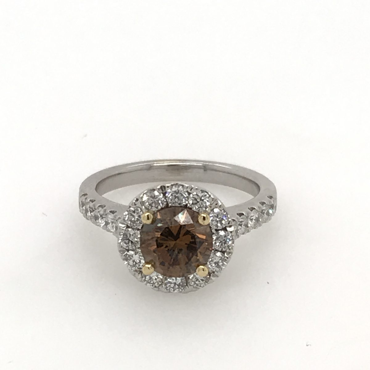 88d2f176cb0 18ct white gold diamond cluster ring four yellow gold claw set with one  round brilliant cut cognac diamond 1.67ct and twenty two round brilliant cut  ...