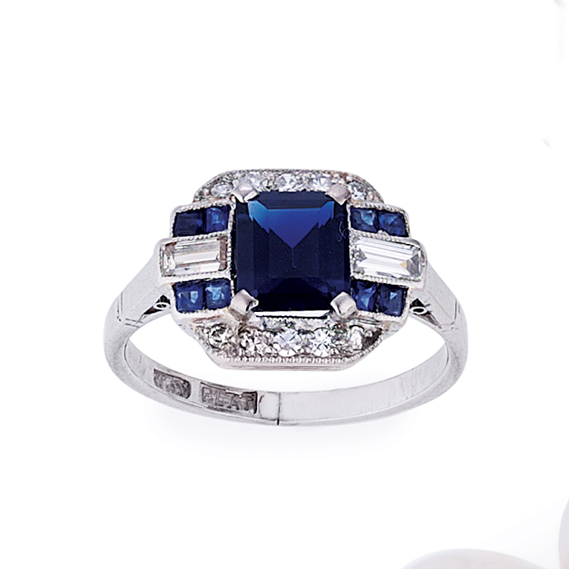 Vintage Art Deco Style Sapphire And Diamond Ring In Platinum Catanach S Jewellers