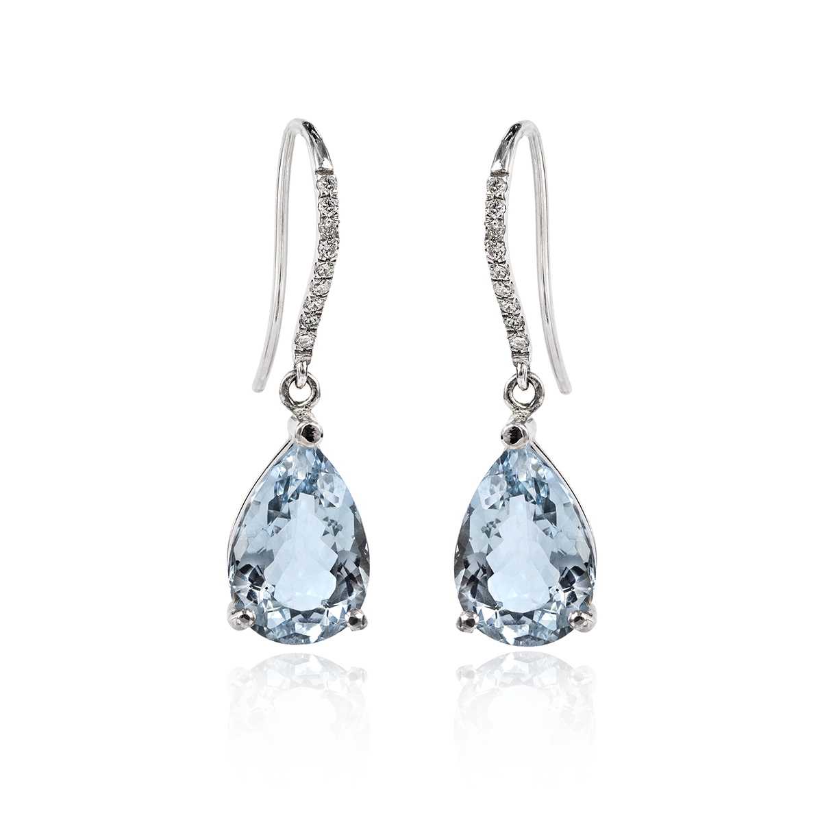 91de6a0b6fa47 18Ct White Gold Pear Shape Aquamarine And Diamod Drop Earrings 2=4.73Ct  18=0.10Ct