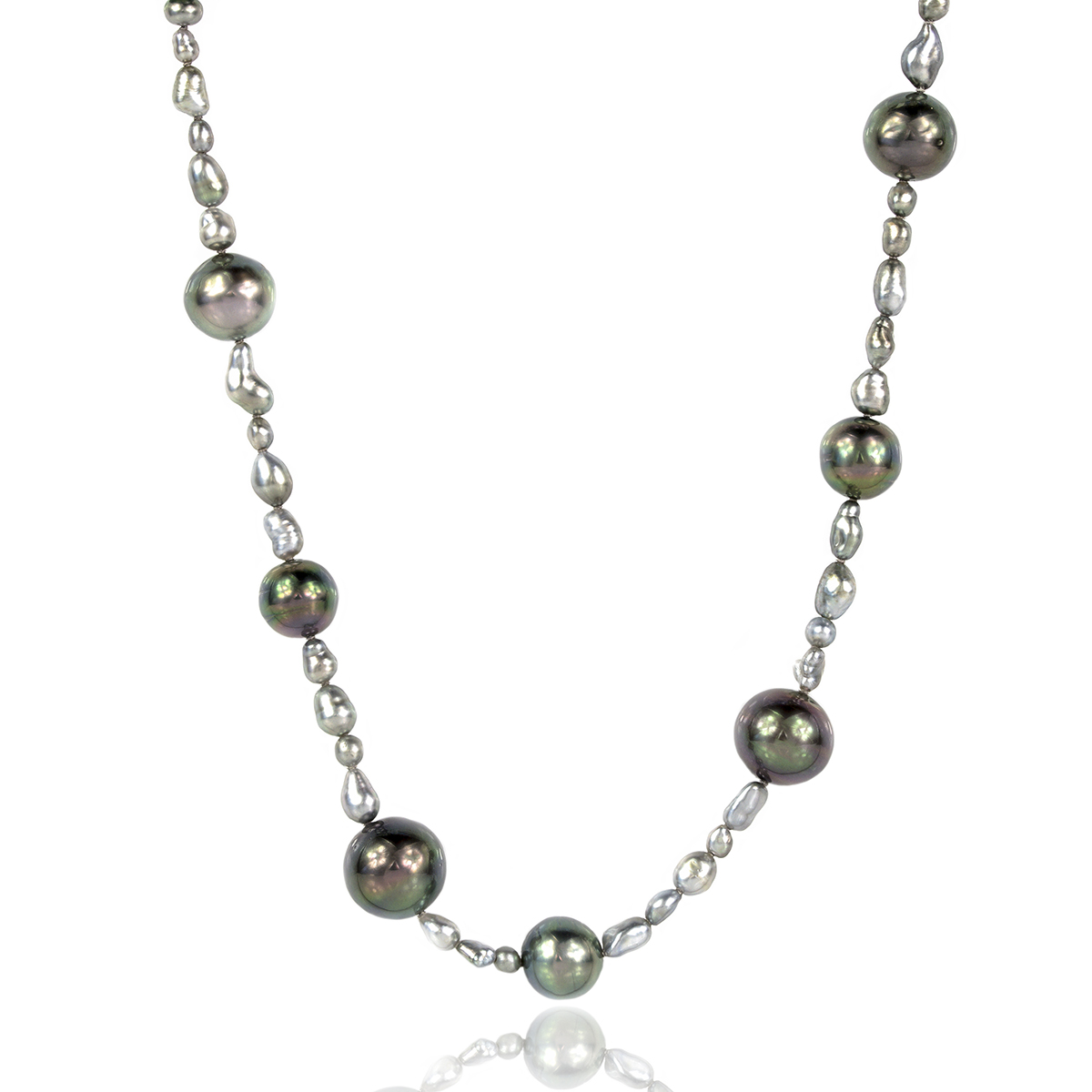 647f39ce574e8 Tahitian and Keshi Pearl Necklace with 69 pearls from 3-12.8mm on silver  and pyrite magentic clasp